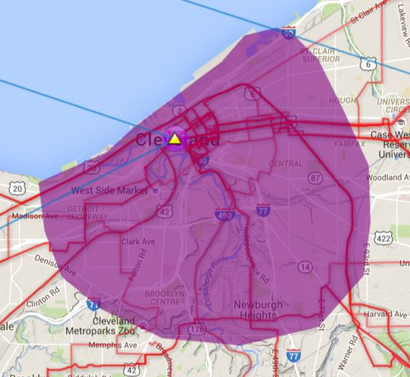 Cleveland wireless Internet coverage area map