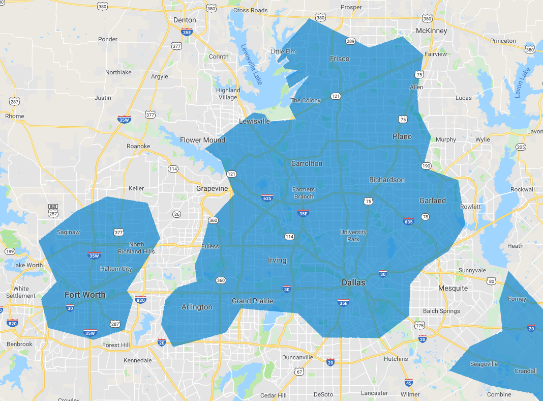 Dallas Fixed Wireless Internet coverage map
