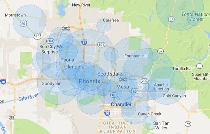 Phoenix wireless Internet coverage map